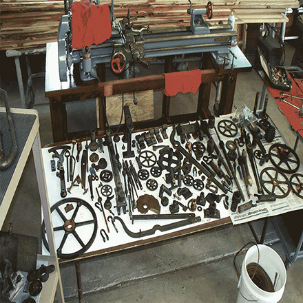 Seth Thomas Tower Clock Parts ready to be cleaned for Preservation by The Tower Clock Company